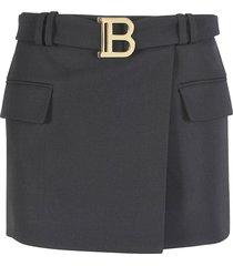 balmain logo buckle belted skirt