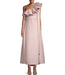 ruffled bow-tie silk gown