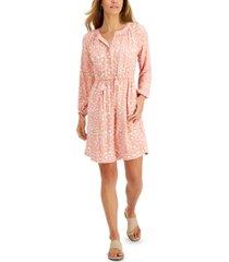 style & co petite animal-print shirt dress, created for macy's