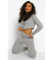 geribbelde mix & match leggings met knopen, grey