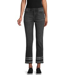driftwood women's colette snakeskin print-trimmed ankle jeans - washed black - size 26 (2-4)