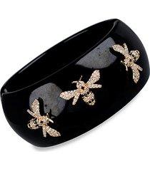 14k goldplated & crystal bee bangle bracelet