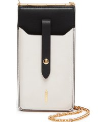 thacker nora leather phone crossbody bag - white