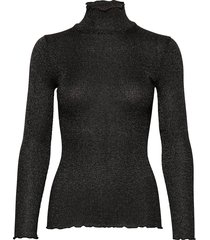 silk t-shirt turtleneck regular ls turtleneck polotröja svart rosemunde
