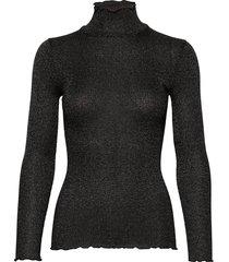 silk t-shirt turtleneck regular ls turtleneck polotröja svart rosemunde
