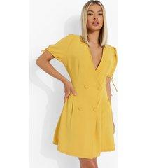 linnen look blazer jurk met dubbele knopen, mustard