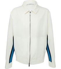 contrasting side stripe jacket white