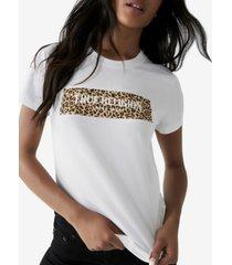 women's leopard block logo short sleeve crewneck tee