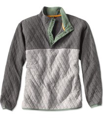 outdoor quilted snap sweatshirt, gray/charcoal, xx large