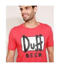 pijama masculino duff beer os simpsons manga curta vermelho
