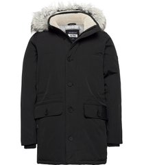 anf mens outerwear parka jacka svart abercrombie & fitch