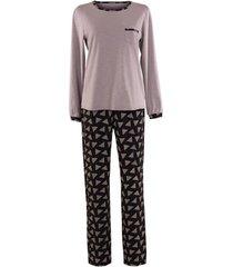 pyjama's / nachthemden lisca electra pyjama met lange mouwen zwart