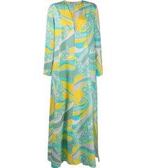 emilio pucci abstract-print long beach dress - green