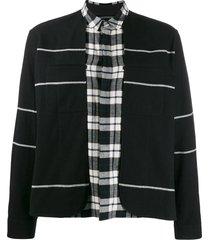 stripe and check print shirt