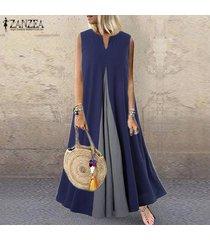 zanzea mujeres con cuello en v sin mangas ocasional del verano del vestido del tanque vestido maxi largo vestido de tirantes más del tamaño -azul