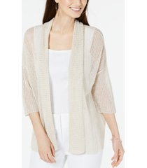 alfani open-stitch linen-blend kimono cardigan, created for macy's