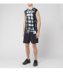 satisfy men's cloud merino 100 muscle vest - blue/black tie dye - s