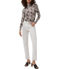 french connection animalia printed mock-neck top