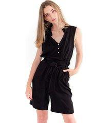 blusa para mujer color negro, manga corta, cuello en v color-multicolor-talla-xl