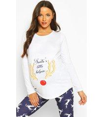 zwangerschaps 'santa's little helper' kerst pyjama, navy
