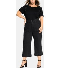 city chic trendy plus size washed culotte jeans