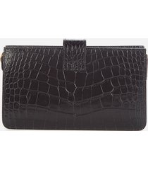 a.p.c. women's albane croc clutch cross body bag - black
