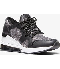 mk sneaker liv extreme in pelle e mesh metallizzato con glitter - nero/argento (argento) - michael kors