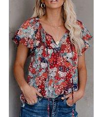 camicetta con scollo a v manica corta con stampa floreale a fascia per donna