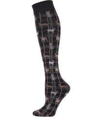 pooches plaid women's knee high socks