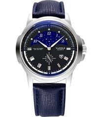 reloj hombres de moda casual de dos puntas de la-negro