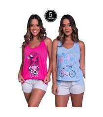kit 5 pijama bella fiore modas short doll tal máe multicolorido