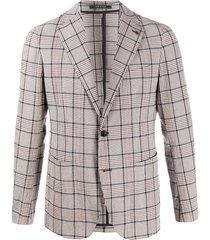 tagliatore single breasted check crinkle blazer - grey