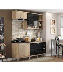 cozinha compacta completa multimã³veis com 4 peã§as sicãlia 5810 argila/preto - bege/incolor - dafiti