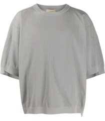 maison flaneur ribbed short sleeve sweatshirt - grey