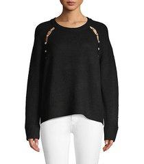jolynn faux-pearl trim raglan-sleeve sweater