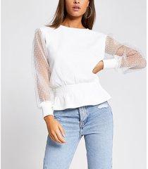 river island womens white organza sleeve shirred sweatshirt