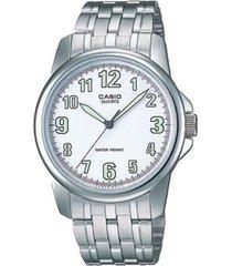 reloj analógico hombre casio mtp-1216a-7b - plateado con blanco