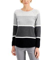 karen scott petite cotton colorblocked sweatshirt, created for macy's