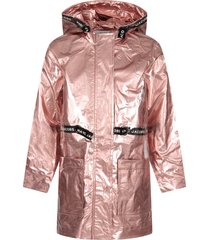 little marc jacobs pink rainproof for girl parka with logo
