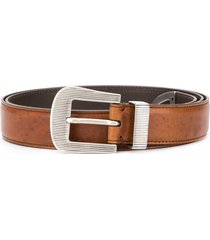 brunello cucinelli embossed hardware leather belt - brown