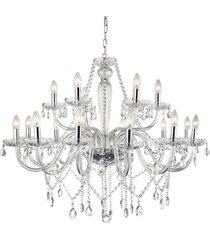 lustre candelabro de cristal maria tereza - 18 braã§os transparente - incolor - dafiti