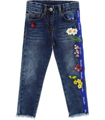 monnalisa embroidered denim jeans