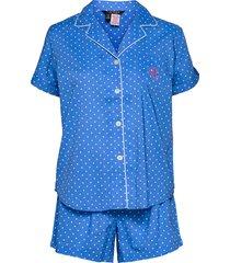 lrl notch collar pj boxer set s/sl pyjamas blå lauren ralph lauren homewear