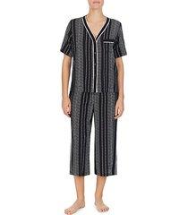 2-piece striped top & capri pajama set