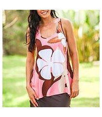 sleeveless top, 'pink frangipani garden' (indonesia)