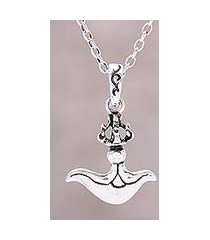 sterling silver pendant necklace, 'graceful swing' (india)