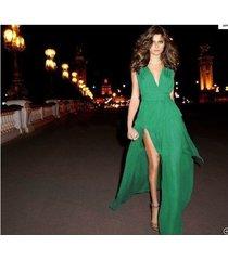 vestido maxi envolvente convertible de múltiples mujeres para mujer vestidos de fiesta de dama de honor sexy sin tirantes en la playa - verde