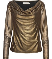 mileycr blouse blus långärmad guld cream