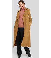 trendyol buttoned wool coat - brown