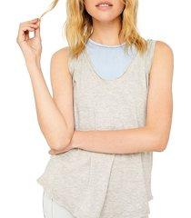 free people movement women's henry stripe-yoke tank top - heather grey - size s
